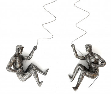 Silver Resin Sculpture Abseiling Man Wall Art ~ Hanging Statue Decoration -  ~ Design Varies