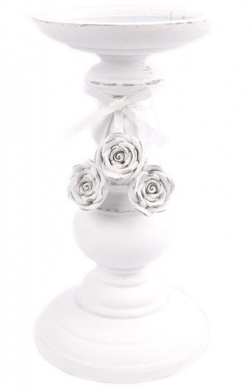 White Wood Candlestick Pillar Candle Holder With Roses 20cm