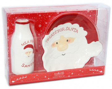 Father Christmas Milk and Cookies Treats For Santa Ceramic Plate and Mug Gift Set