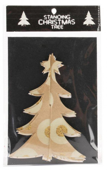 Set Of 3 Fold Out 3D Christmas Tree Garland ~ Gold Hanging Decoration