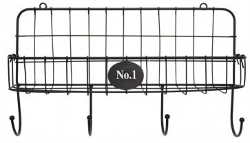 Black Mesh Wall Mounted Wire Shelf With Hanging Hooks