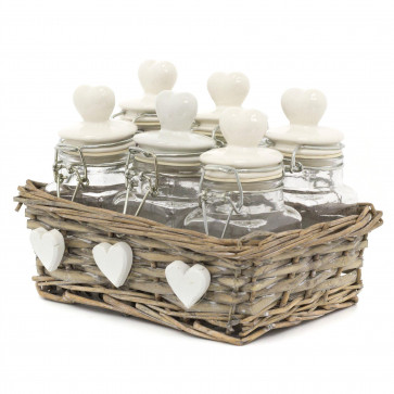 Shabby Chic Set Of 6 Herb Jars Spice Rack With Basket Holder - Ceramic Clip Top Airtight Kitchen Storage Containers