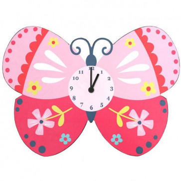 Battery Operated Wooden Pink Butterfly Children's Wall Clock