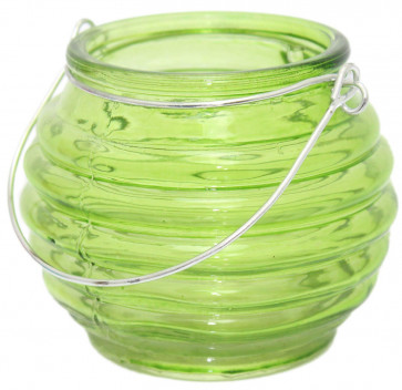 Bright Coloured Glass Ribbed Tealight Candle Holder Pot With Wire Handle ~ Green