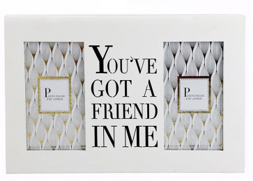 Double 4 x 6 Wall Hanging Wooden Photo Picture Frame With Cut Out Words ~ You've Got A Friend In Me
