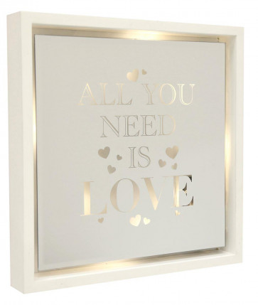 White Wooden Light Up LED Mirror Frame Hanging Quote 30cm ~ All You Need Is Love