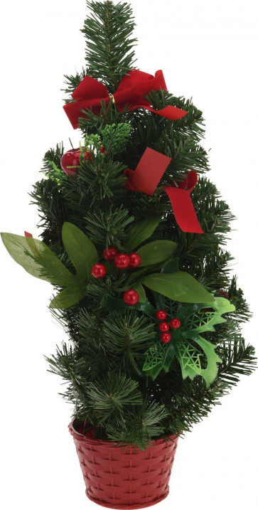 50cm Festive Table Desk Top Artificial Christmas Tree With Red Pot And Decorations