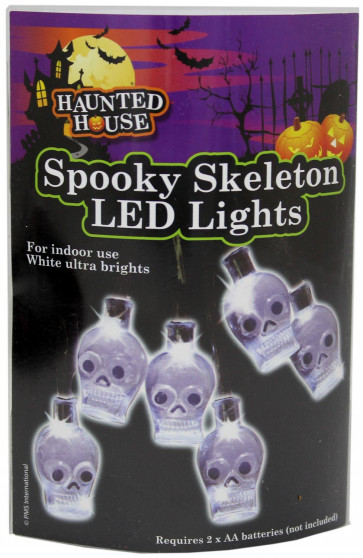 Haunted House Spooky Skeleton Led Lights - 10 Ultra Bright White Skull Halloween Fairy Lights ~ Great Halloween Party Decoration