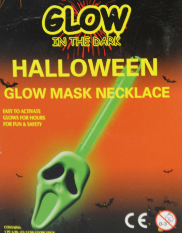 Glow In The Dark Halloween Glow Stick Pendant Necklace - Green Ghoul Skull