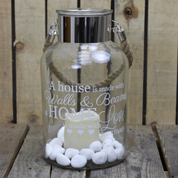Clear Glass Hurricane Storm Lantern With Rope Handle And LED Flameless Candle And Decorative Stones ~ Love And Dreams