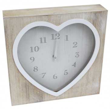 Shabby Chic Lime Wash Square Heart Mantel Clock 25cm x 25cm