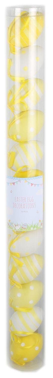 Easter Tree Display Egg Decorations - 12 Pretty Pastel Patterned 7Cm Hanging Easter Eggs - Yellow