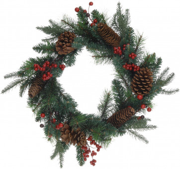 Large Traditional Christmas Wreath Pine Cone and Berry Decoration - 40cm