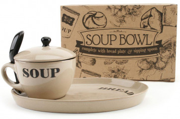 Natural Coloured Soup Bowl With Lid,  Bread Plate And Spoon ~ Cream