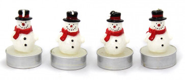 Set Of 4 Snowman Tealight Christmas Table Wax Candle Decoration