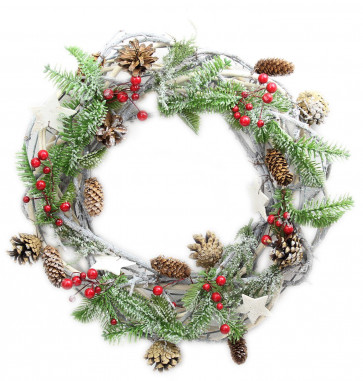 Rustic Frosted Pine Cone Star and Berry Christmas Wreath Decoration