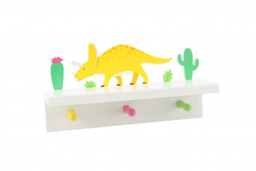 Children's Wooden Wall Mounted Triple Peg Coat Hooks ~ Dinosaur Shelf