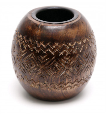 Round Mango Wood Tealight Candle Holder ~ Beautiful African Design Tea Light Candle Pot