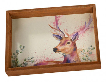 Painterly Animals Wooden Storage Serving Tray - Small Trinket Tray Jewellery Dish ~ Deer
