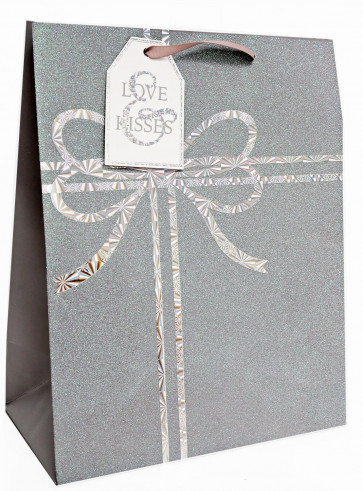 Large Silver Christmas Present Glitter Gift Bag With Tag