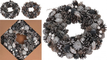 Frosted Snow Glitter Pinecone Berries Festive Christmas Table Ring Wreath Centerpiece Decoration - Design Varies