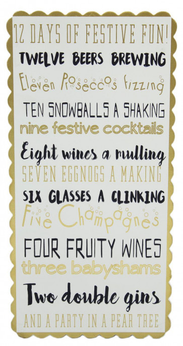 12 Days Of Christmas Festive Drinking Hanging Wooden Plaque Bar Sign Decoration