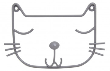 Wall Mounting Grey Wire Cat Head Single Hook Decorative Plaque