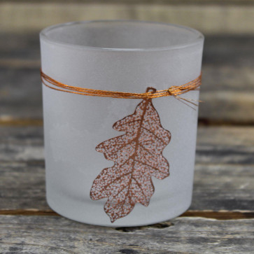 Frosted Glass Copper Falling Leaf Candle Tealight Holder ~ Silver Oak