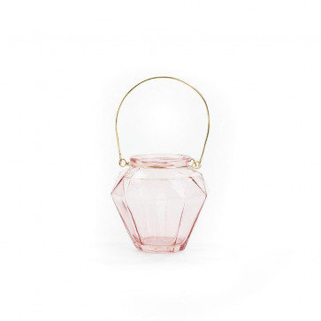 Small Rose Glass Tealight Candle Holder 10cm x 11cm ~ Light Pink