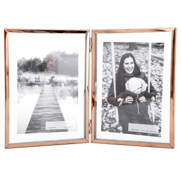 Copper Effect Glass Double Picture Frame | Multi 4 x 6 Hinged Photo Frame | Metal Rim 2 Aperture Picture Frames