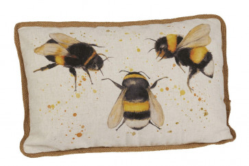 Honey Bee Print Large Fabric Sofa Scatter Cushion With Cover - Bumblebee Bed Throw Pillow