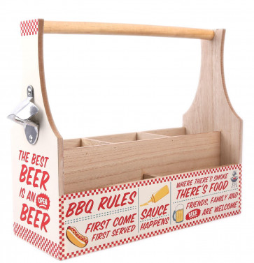 Wooden BBQ Cutlery Napkin Condiment Crate Holder With Bottle Opener