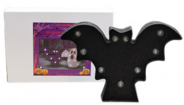 Battery Operated Light Up Bat Halloween Sign Decoration 30 x 20 x 5cm