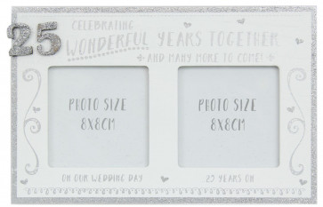 White Wooden Freestanding Silver Glitter 25TH Wedding Anniversary Photo Frame
