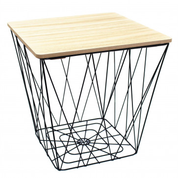 Square Wooden Top Geometric Wire Occasional Side Table - Storage Basket Table With Lid