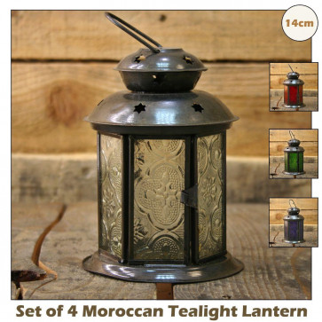 Set Of 4 Pretty Moroccan Tealight Lantern ~ 14Cm Tealight Candle Holder (Purple, Red, Green, Clear)