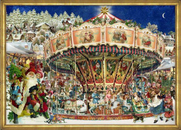 Victorian Carousel At Christmas Card Advent Calendar With Envelope
