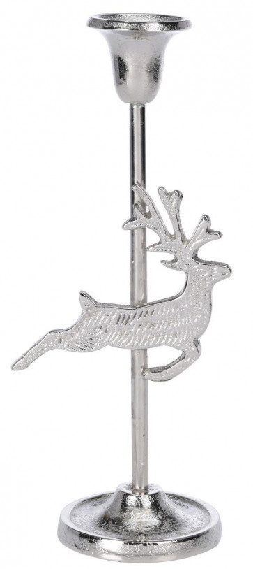 Silver Metal Christmas Design Table Pillar Candlestick Candle Holder Decoration - Reindeer