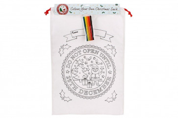 Colour Your Own Christmas Canvas Bag - 'Do Not Open Until 25th' Colour In Santa Sack