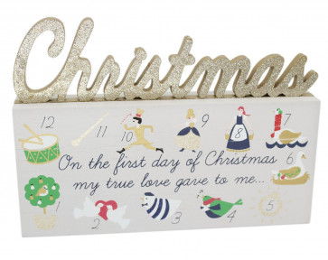 Freestanding 12 Days Of Christmas Wooden Plaque Glitter Block Decoration