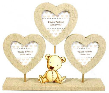 Teddy Bear Triple Heart Stand Photo Frame