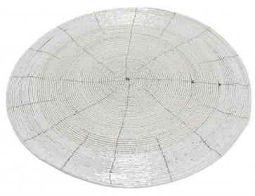 30cm Round Furniture Dining Table Woven Glass Beaded Placemat - White