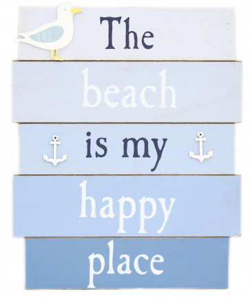 Hanging Wooden Nautical Beach Seaside Plaque ~ Happy Place