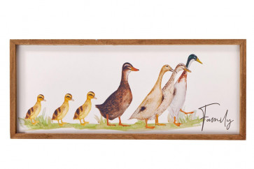 Charming Duck Family Picture Wooden Plaque ~ Wall Hanging Decoration