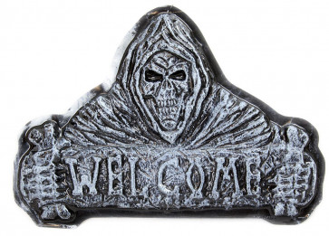 Haunted House Plastic Halloween Hanging Wall Plaque Party Decoration ~ Reaper Welcome