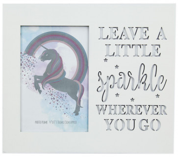 White Wood Unicorn Picture Photo Frame With Cut Out Words 4 X 6 ~ Sparkle