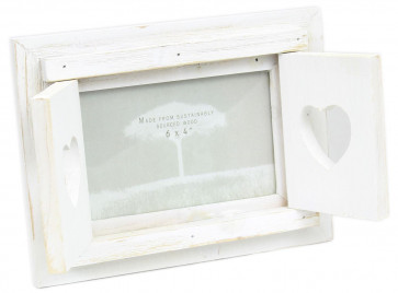 "Shabby Chic Freestanding White Washed Shutter Window Double Heart Photo Frame 6"" x 4"""