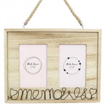 Hanging Wooden Wire Heart Memories Double Photo Picture Frame 6 x 4