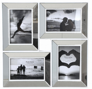35X35 Multi Aperture Venetian Bevelled Mirror 4X6 Frame ~ Mirror Style Multi Photo Frame