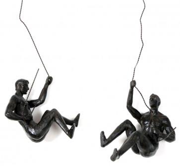 Resin And Metal Hanging Climber Abseiling Man Ornament Sculpture Wall Art Figure ~ Design Vary